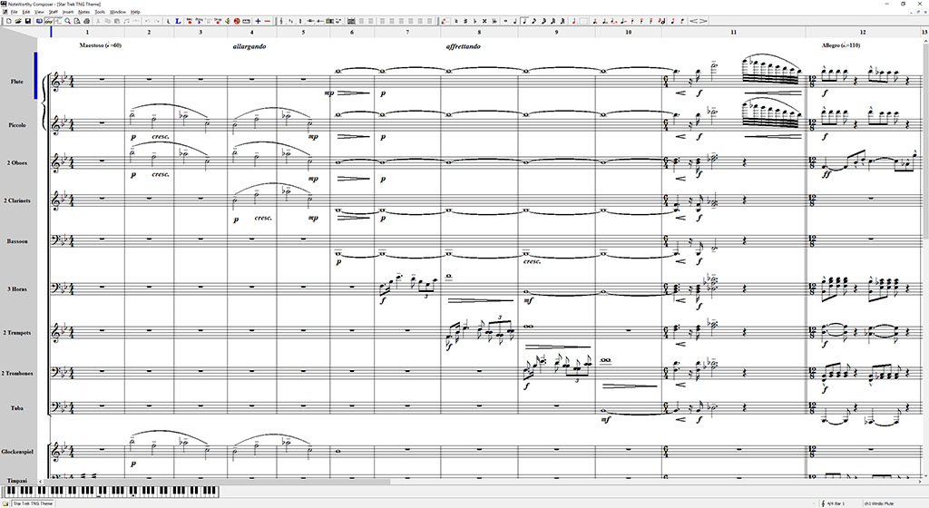 Screenshot of score for TNG theme